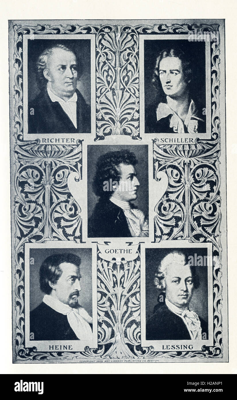 The German authors pictured here are, from left to right, top to bottom: Conrad Richter (1890-1968), Friedrich Schiller - Stock Image