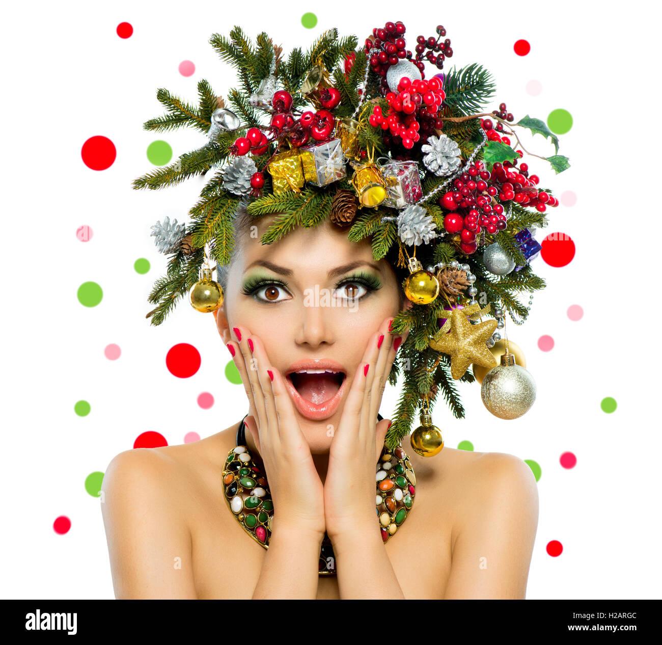 Christmas Woman Christmas Tree Holiday Hairstyle And Make Up Stock