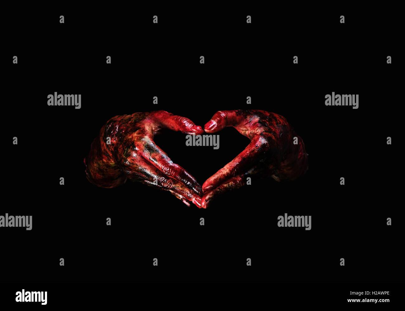 ghost,halloween,cruel,stretch,creepy,macabre,bodyart,zombie,bloody - Stock Image