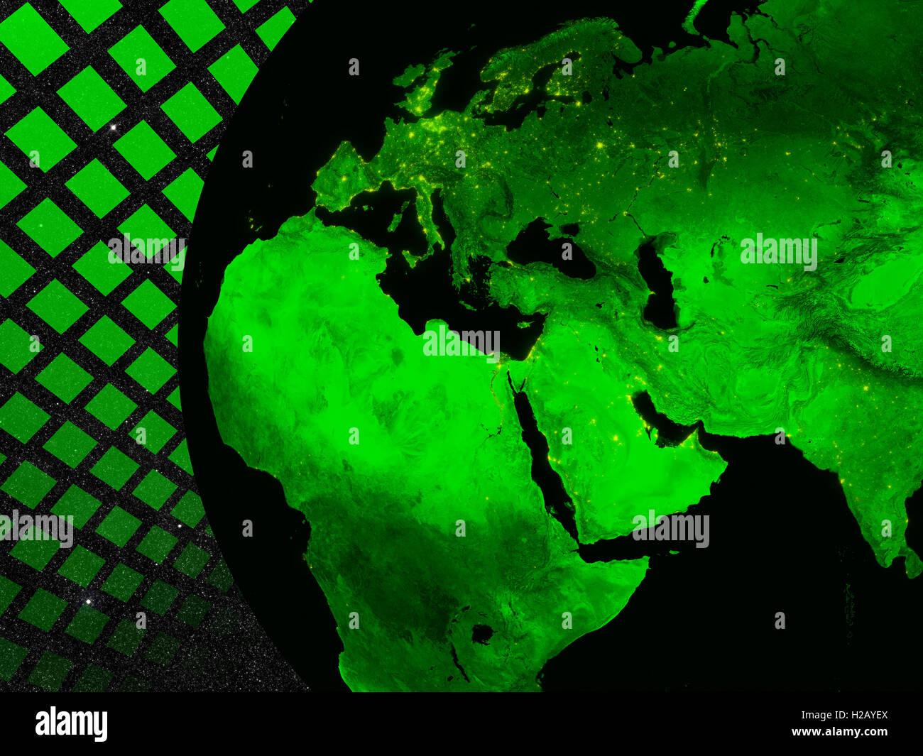 EMEA region technology concept - Stock Image