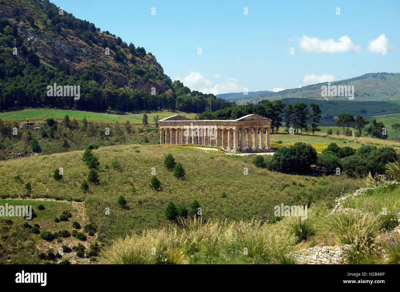 Ancient Temple of Segesta, landscape at Segesta, Province of Trapani, Sicily, Italy - Stock Image