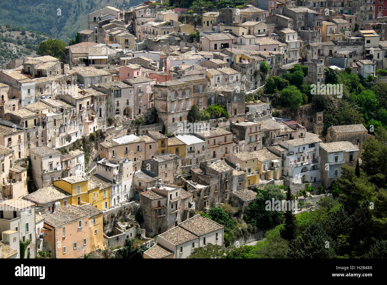 The historic centre of Ragusa Ibla, Sicily, Italy - Stock Image