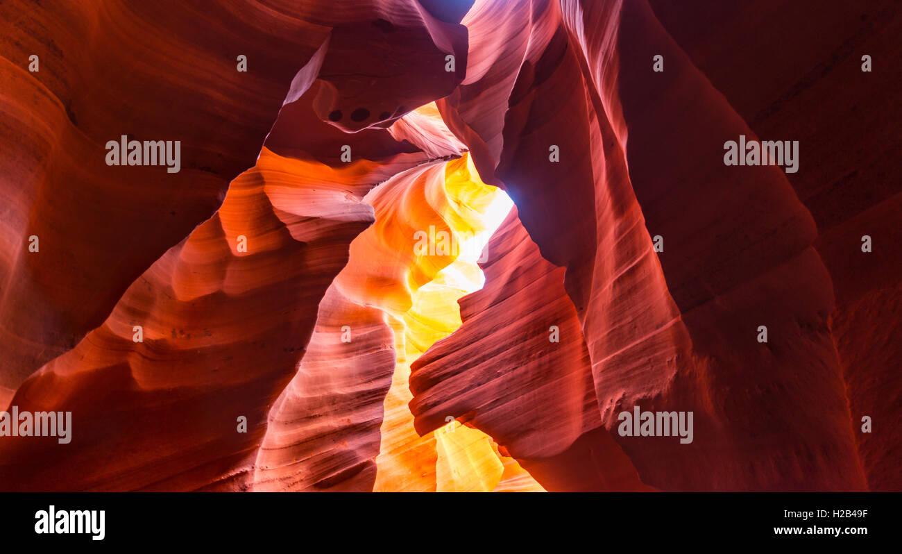 Colourful sandstone formation, incident light, Lower Antelope Canyon, Slot Canyon, Page, Arizona, USA - Stock Image