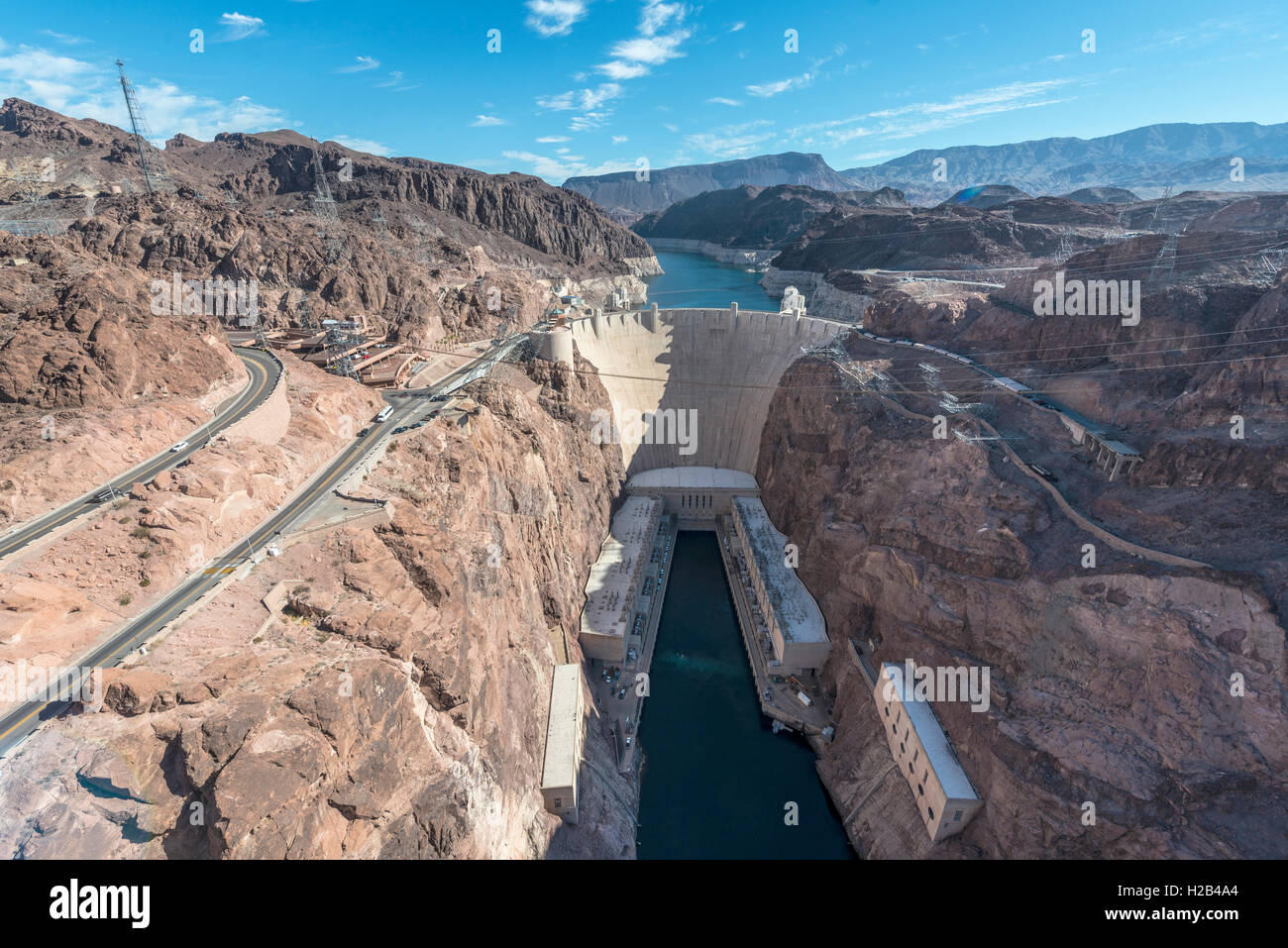 View of Hoover Dam from Mike O'Callaghan-Pat Tillman Memorial Bridge, Lake Mead Recreation Area, Arizona, Nevada, - Stock Image