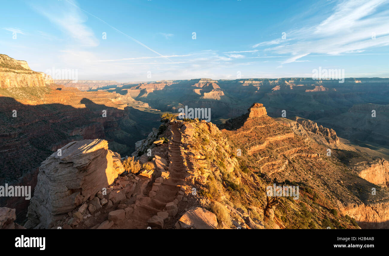 Hiking trail with staircases, South Kaibab Trail, descending from the South Rim, Grand Canyon National Park, Arizona, - Stock Image