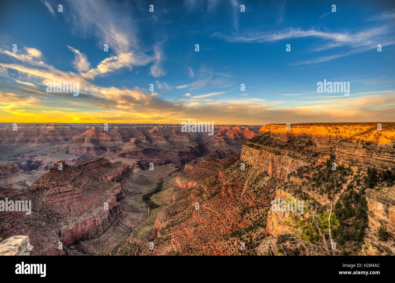 Sunset over Grand Canyon, Grand Canyon National Park, South Rim, Arizona, USA - Stock Image