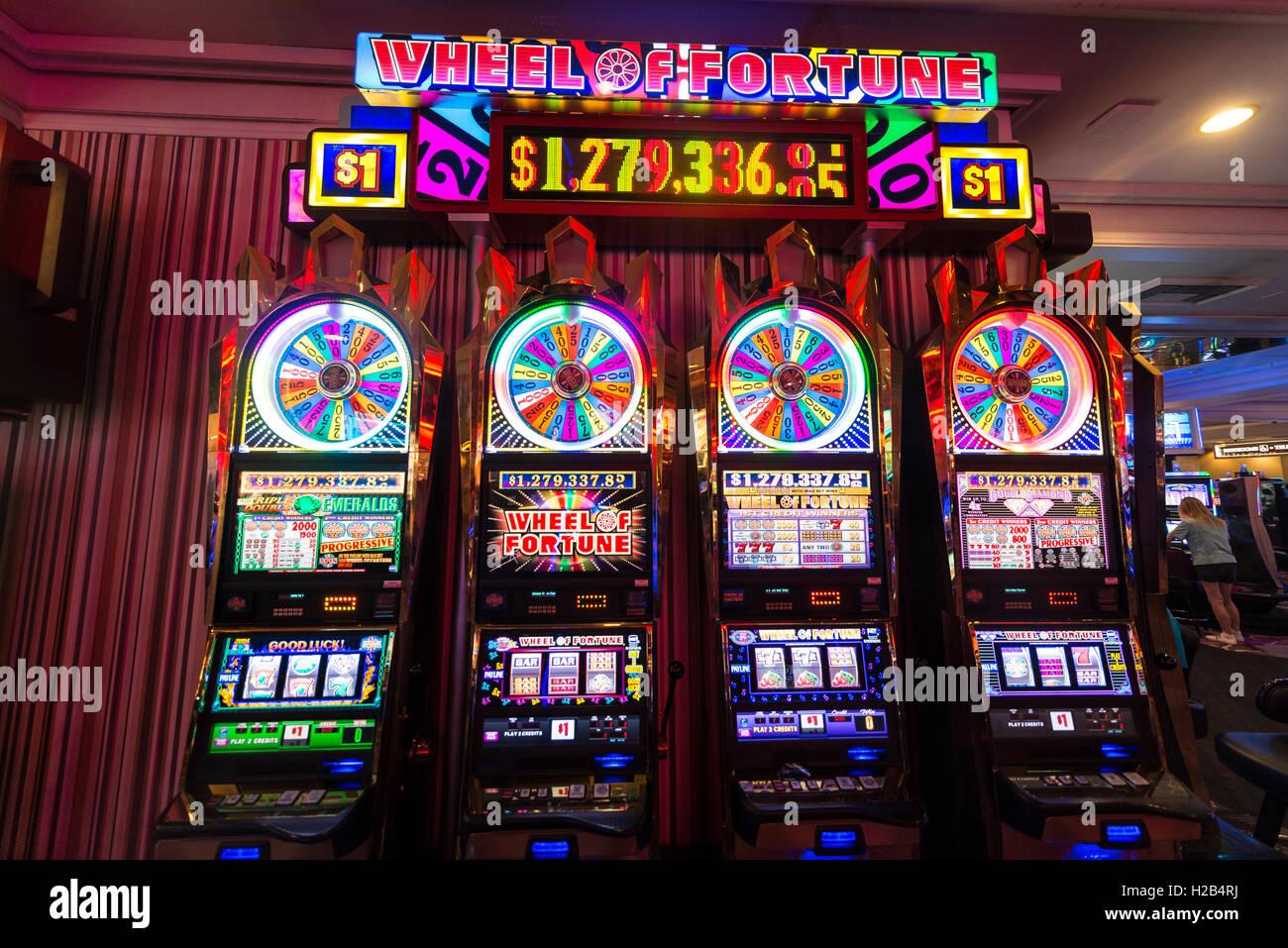 Slots, Wheel of Fortune at casino, Las Vegas, Nevada, USA Stock Photo