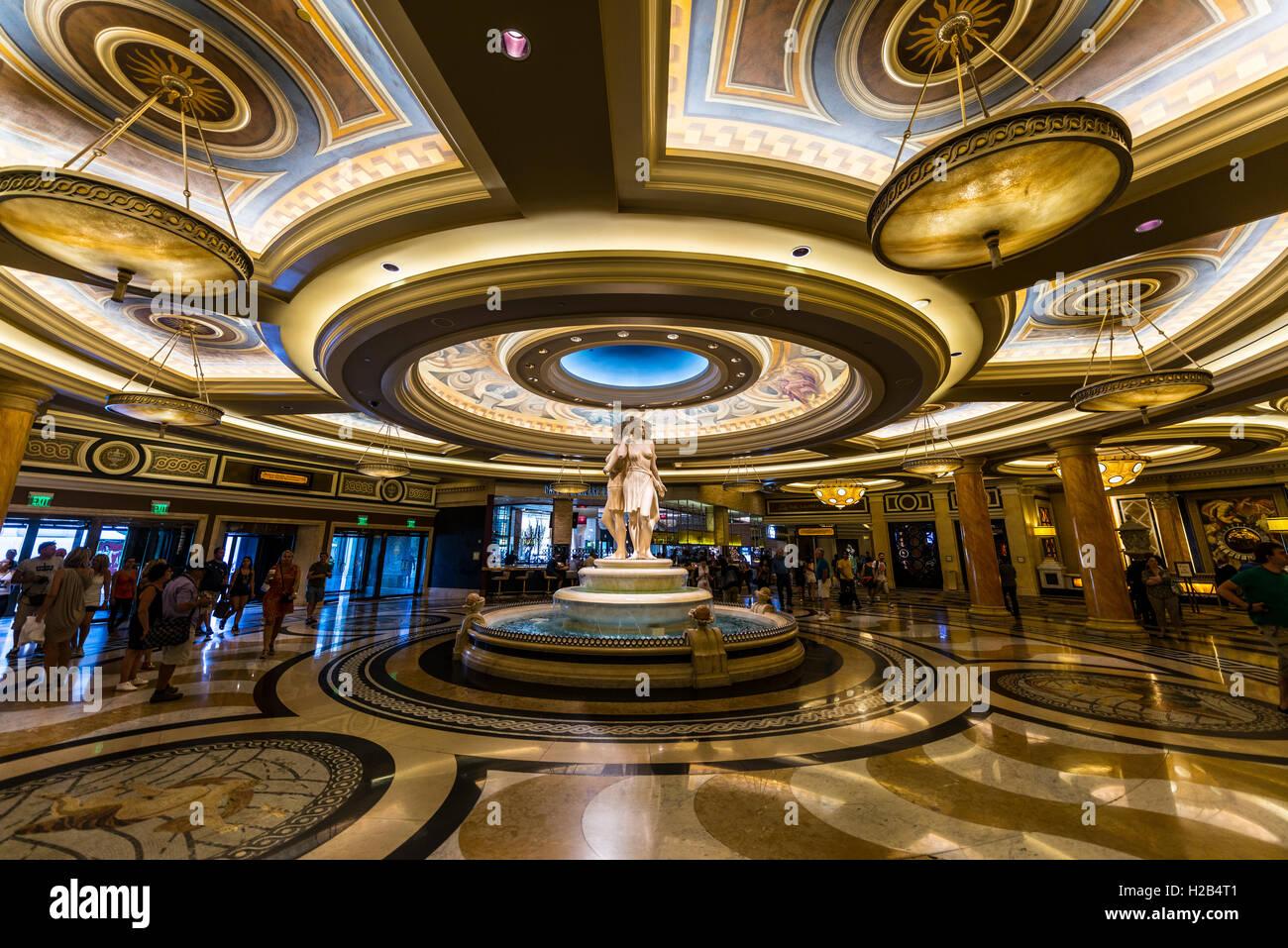 Entrance hall with Roman Statue, Caesars Palace Hotel, Las Vegas, Nevada, USA - Stock Image