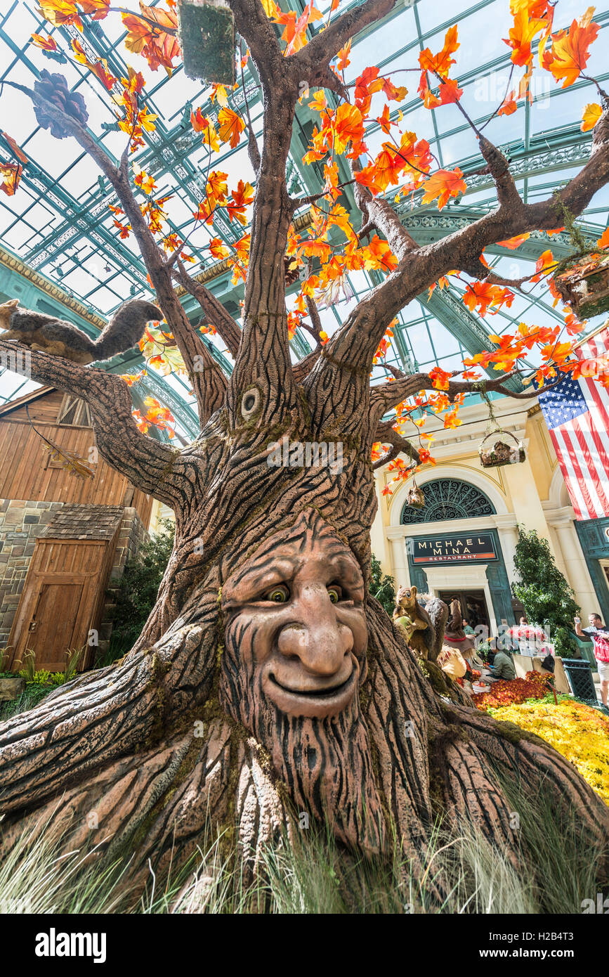 Talking Tree, Autumn, seasonal decorations, Autumn Harvest Display, Bellagio Hotel and Casino, Las Vegas, Nevada, - Stock Image