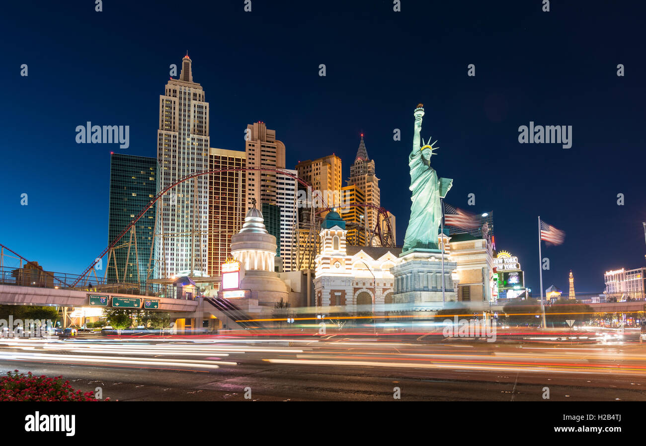 New York New York Hotel and Casino at night, Las Vegas, Nevada, USA - Stock Image