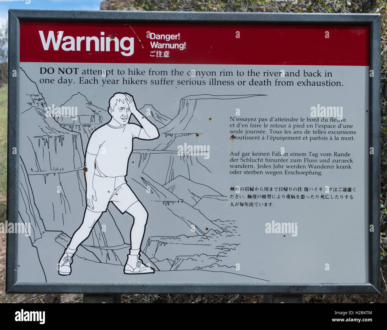 Warning Sign for hikers, warning exhaustion and heat, Grand Canyon National Park, Arizona, USA - Stock Image