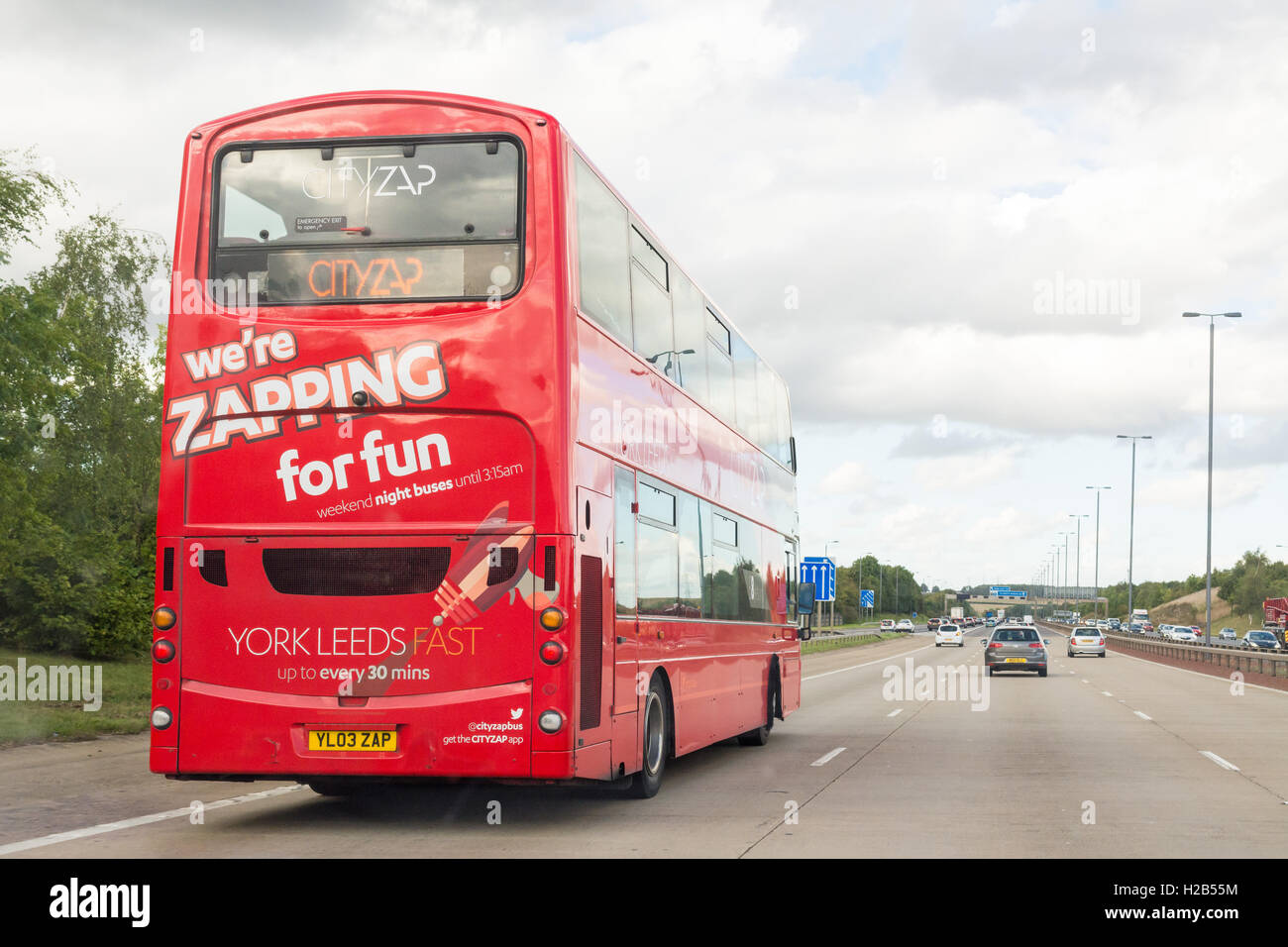 CityZap double decker bus providing a high speed service between Leeds and York - Stock Image
