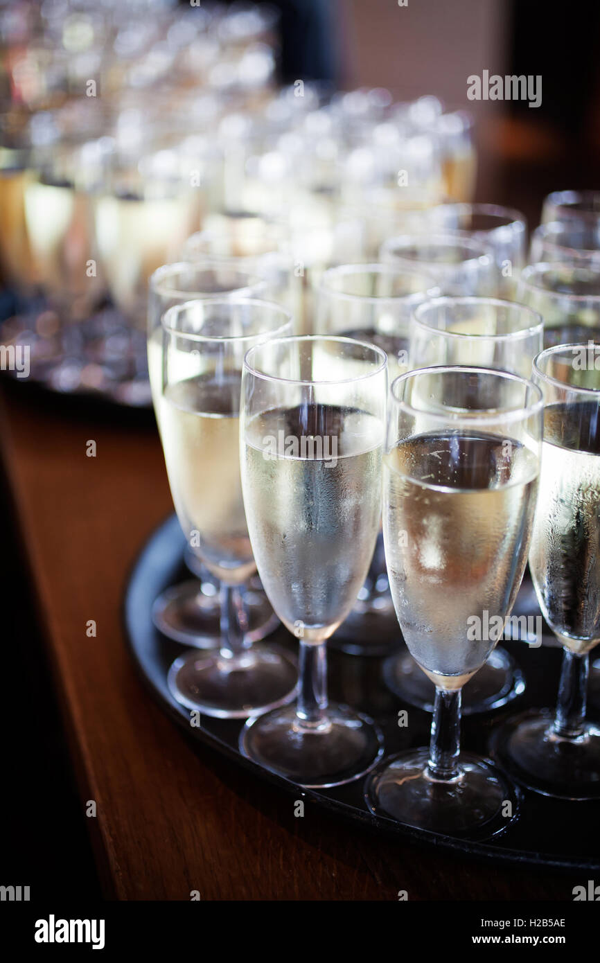 Bunch of glasses with sparkling wine - Stock Image