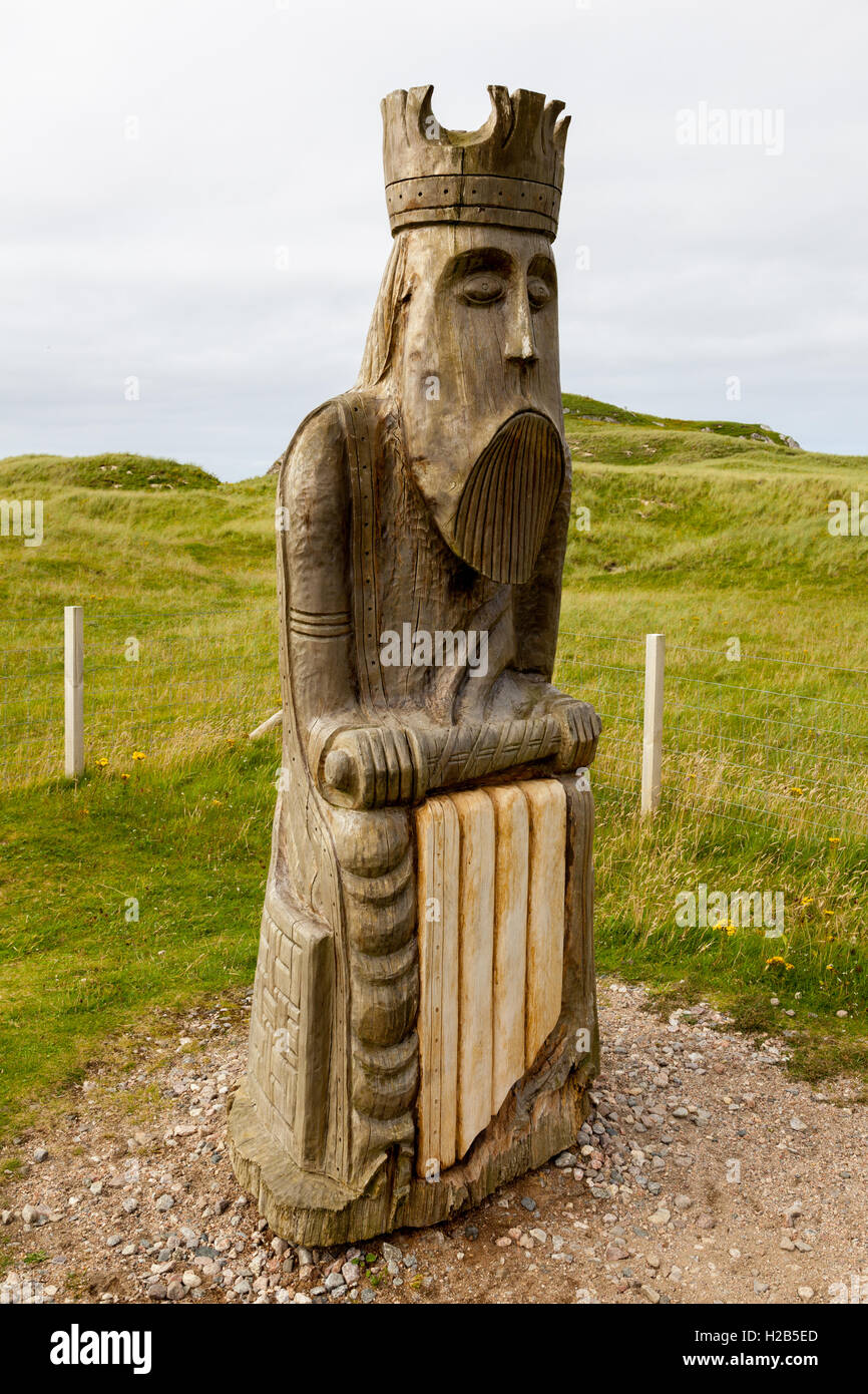 Isle of Lewis, Outer Hebrides, Scotland Giant carved Lewis Chessman Stock Photo