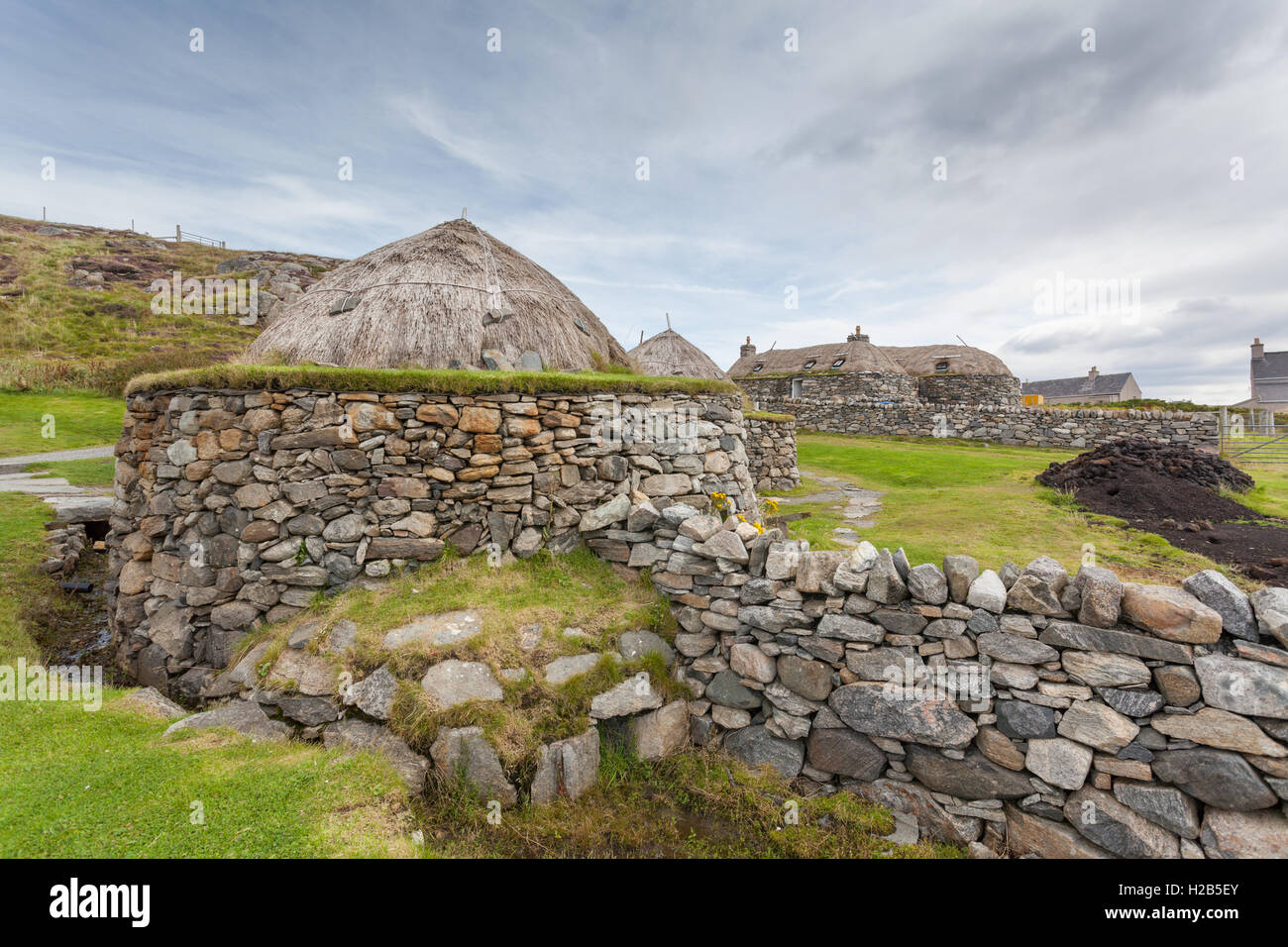 Isle of Lewis, Outer Hebrides, Scotland Garenin Black House Village Stock Photo