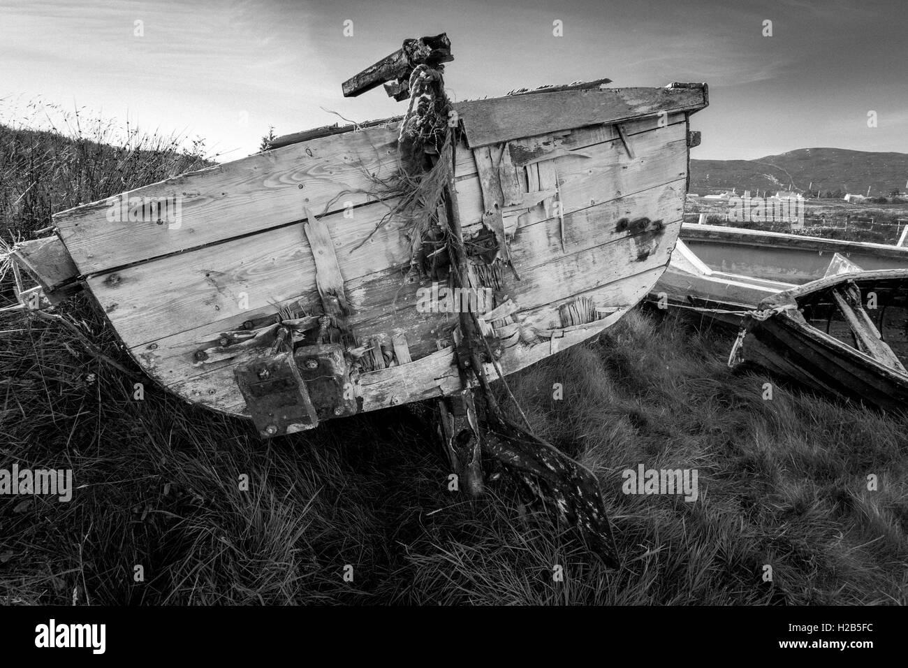 Isle of Lewis, Outer Hebrides, Scotland Abandoned boat near Loch Erisort - Stock Image
