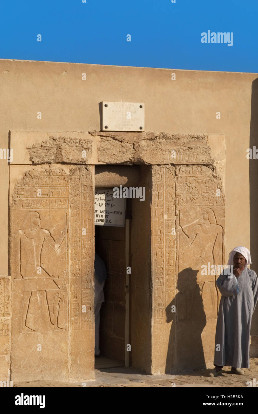 Egypt. Necropolis of Saqqara. Mastaba of Mereruka, priest of Pharaoh Teti.  2.340 B.C. Southern entrance. 6th Dynasty. - Stock Image