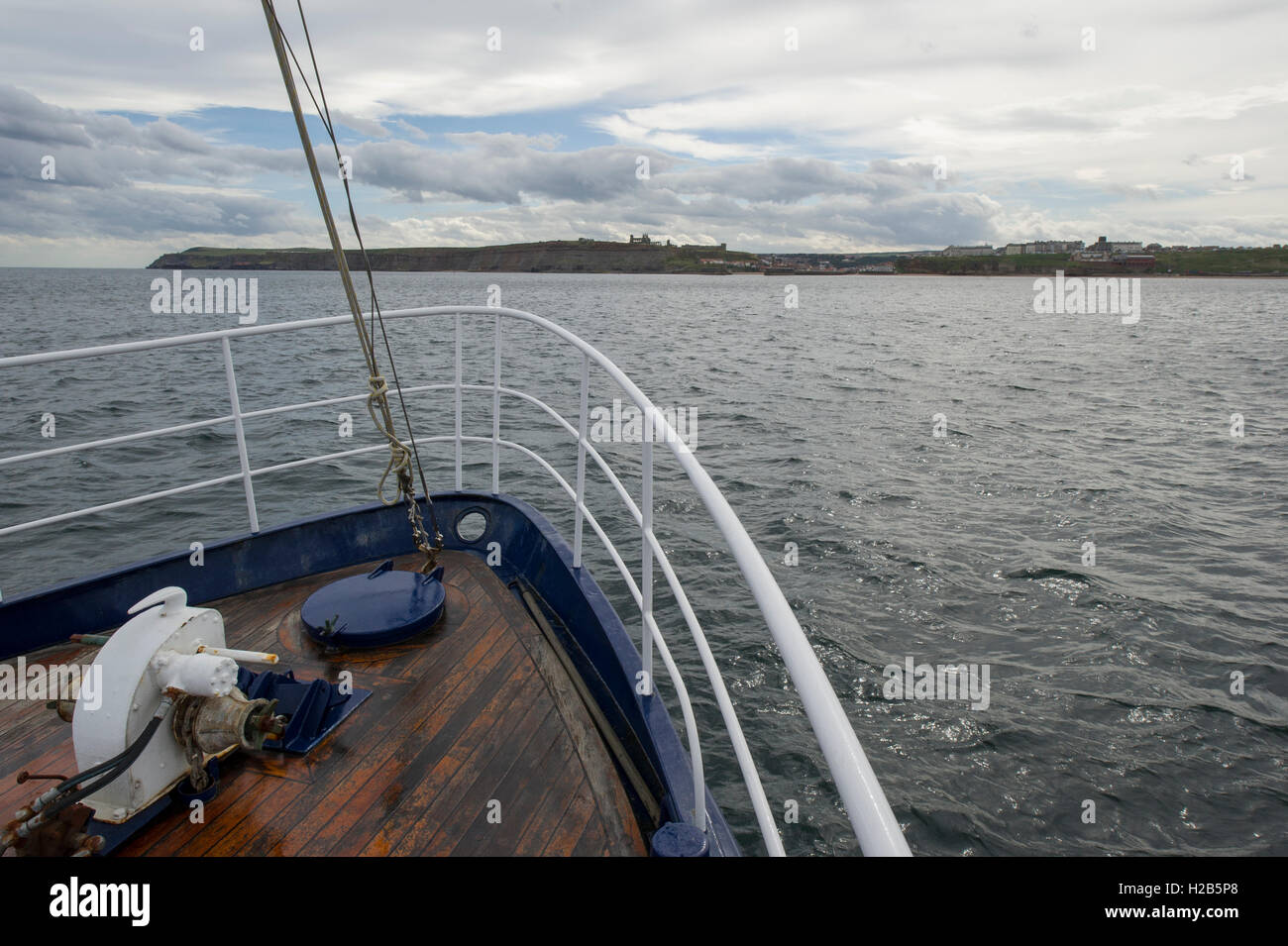 Sailing back towards Whitby after a successful Whale Watching Tour on the North Yorkshire Coast - Stock Image