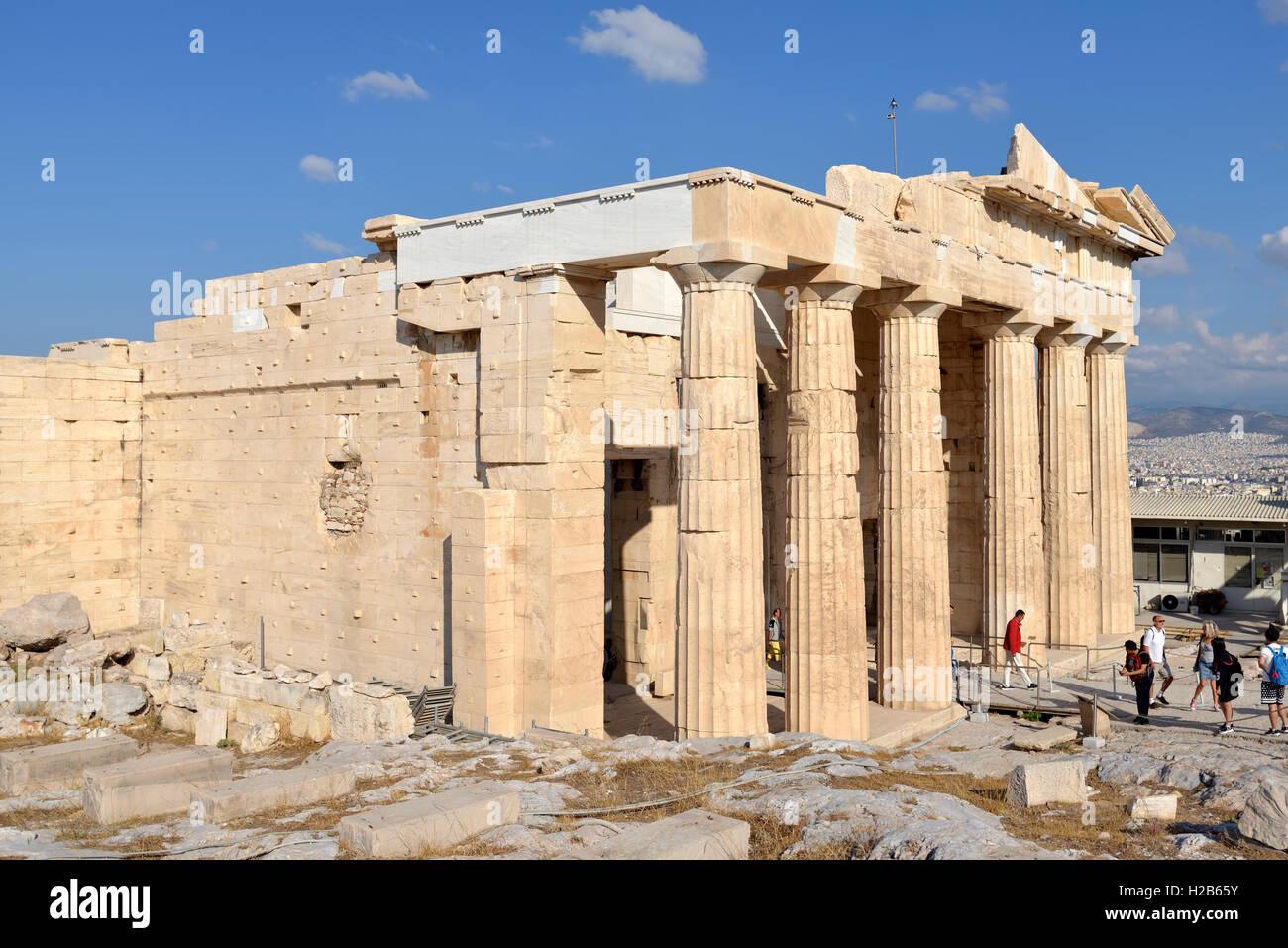 Propylaea in Acropolis of Athens, Greece - Stock Image