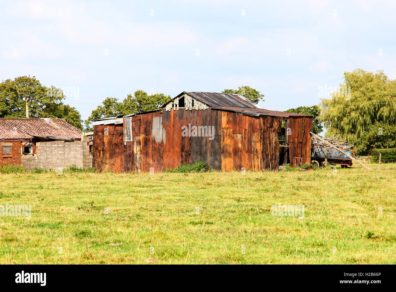 Rusty Corrugated Iron Old Farm Buildings Cheshire England