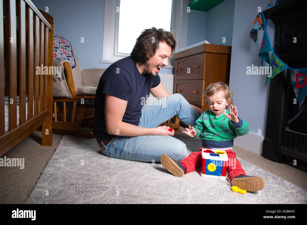 Stay-at-home dad, taking shared parental leave, one of just 3,000 British fathers said to be taking up shared parental - Stock Image