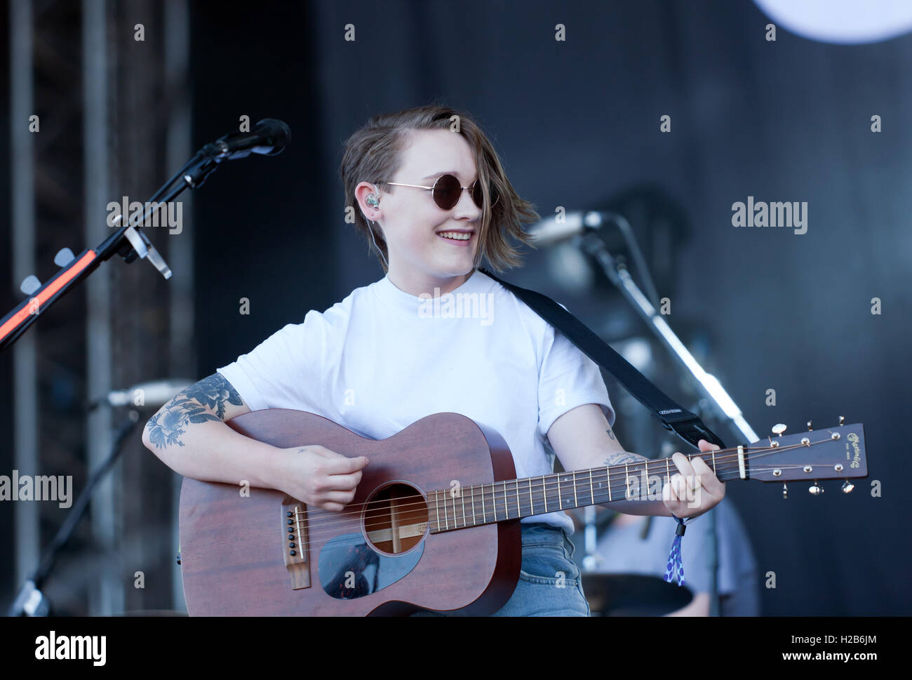 Bridie Monds-Watson performing as Soak, on the main stage at the OnBlackheath Music Festival 2016 - Stock Image