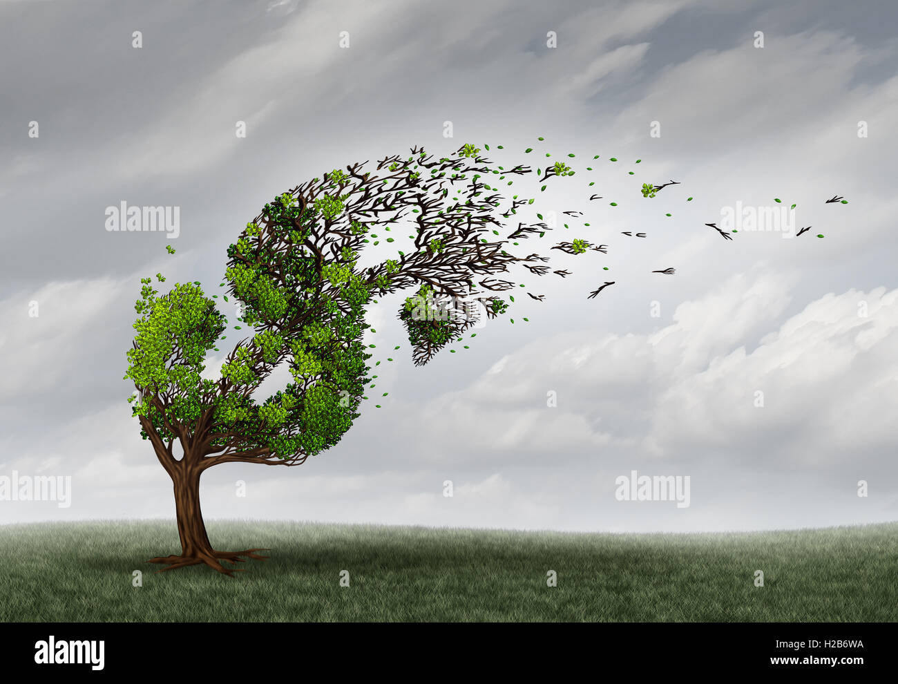 Financial trouble and money adversity or economic crisis concept as a tree being blown by the wind and damaged or - Stock Image