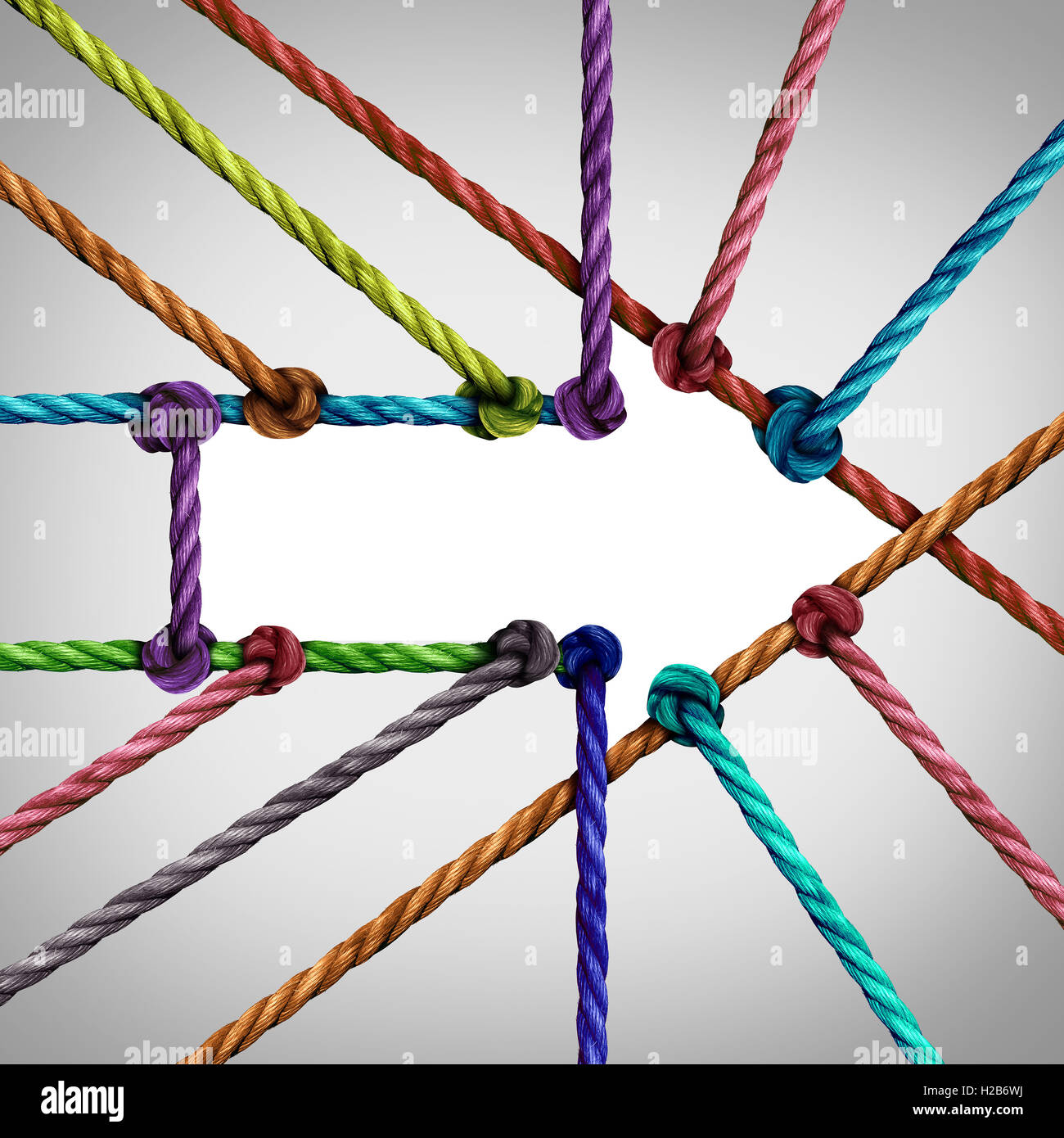 Success arrow connection and central network achievement as a business concept with a group of diverse ropes connected - Stock Image