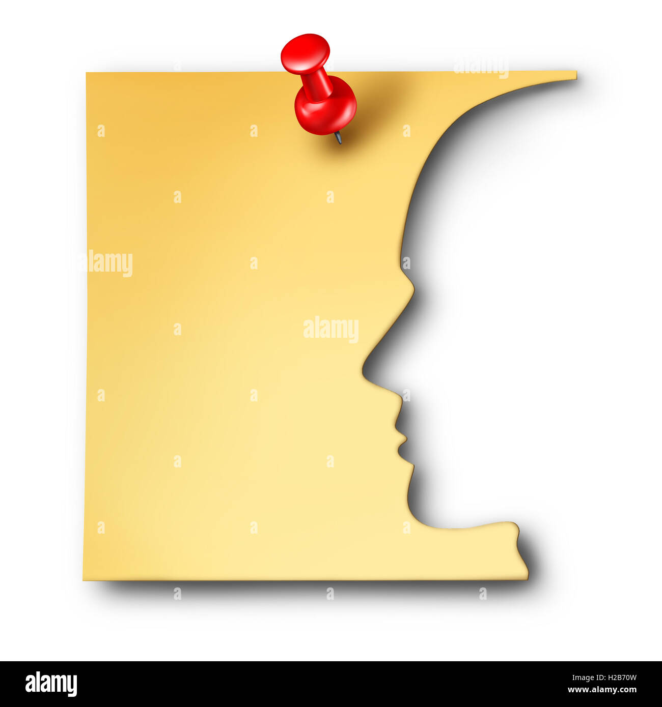 Office worker reminder as an employee symbol cut out of a business note as a corporate career thinking symbol or - Stock Image