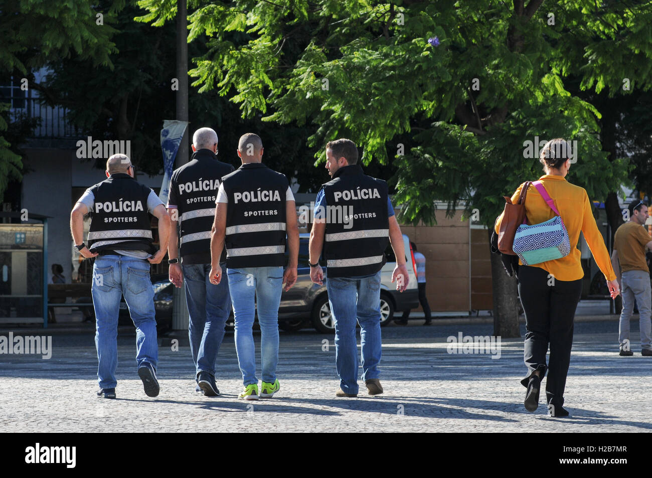 Portuguese Police looking out for football supporters causing trouble in Lisbon Stock Photo