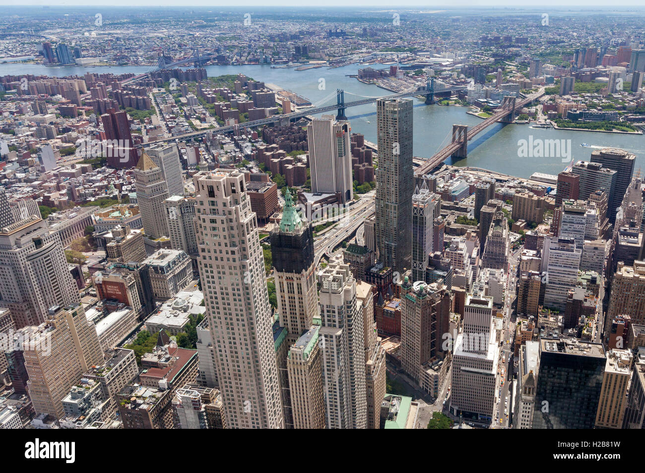 An aerial view of New York City. - Stock Image