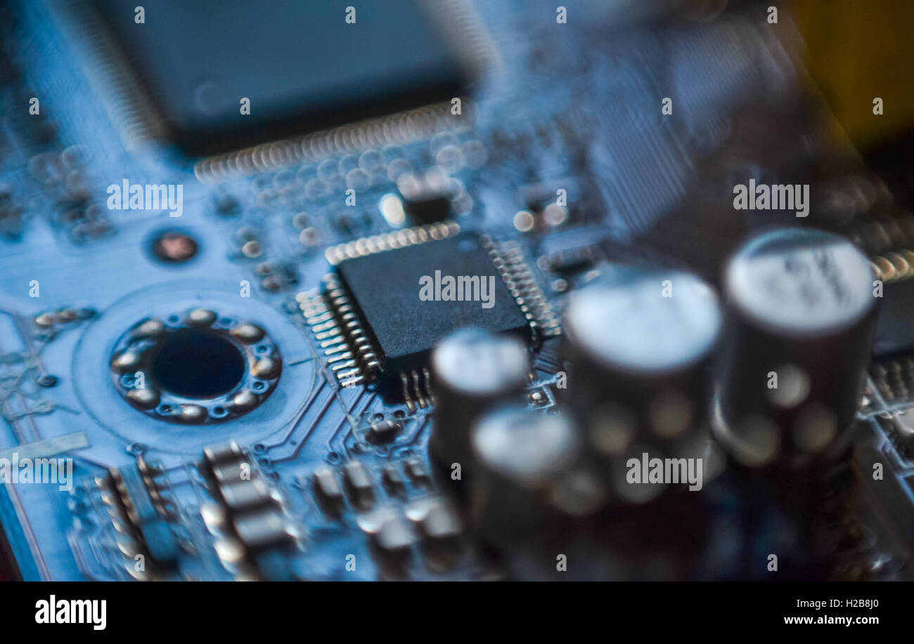 Computer motherboard micro chip circuit close up Stock Photo
