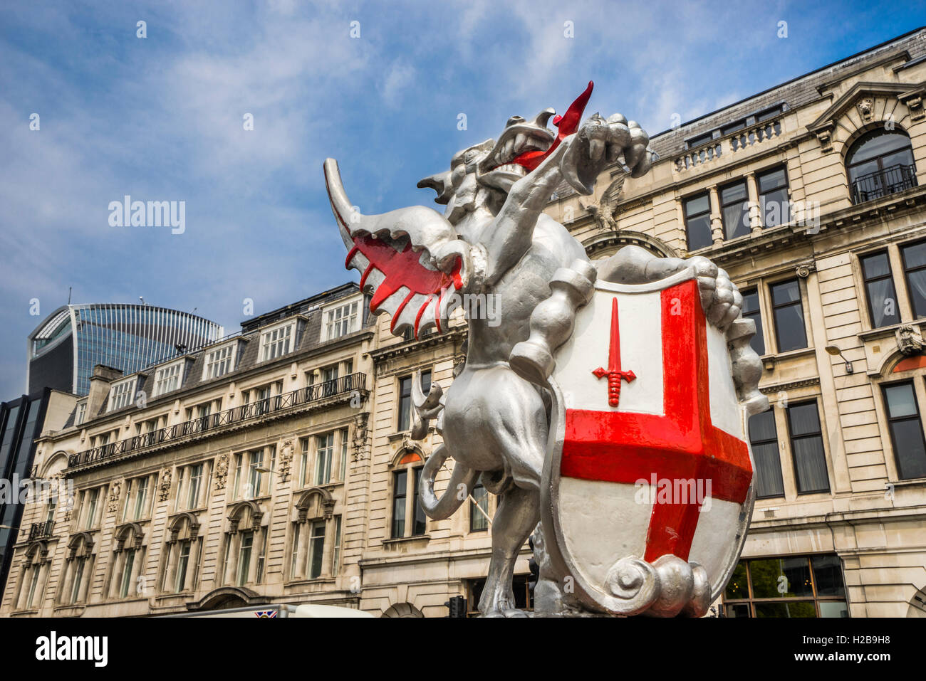 Great Brtain, England, City of London, sculptured emblem of the City of London Coat of arms at Byward Street, Tower - Stock Image