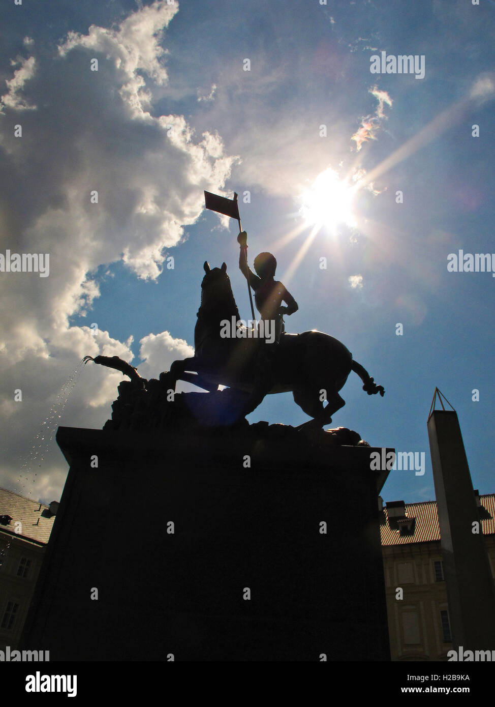 Equestrian statue of St. George slaying the dragon. Prague Castle. Prague. Czech Republic - Stock Image
