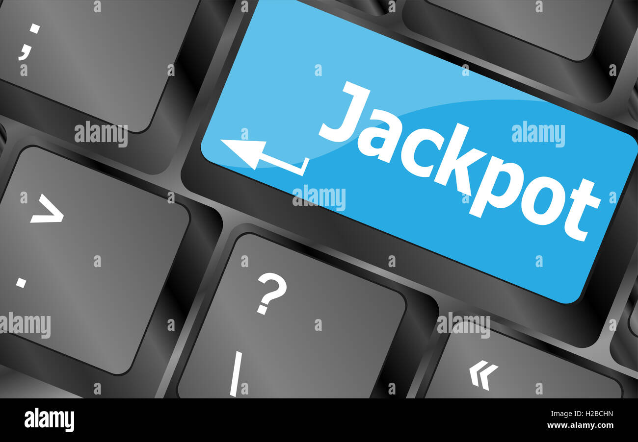 key on a computer keyboard with the words jackpot - Stock Image