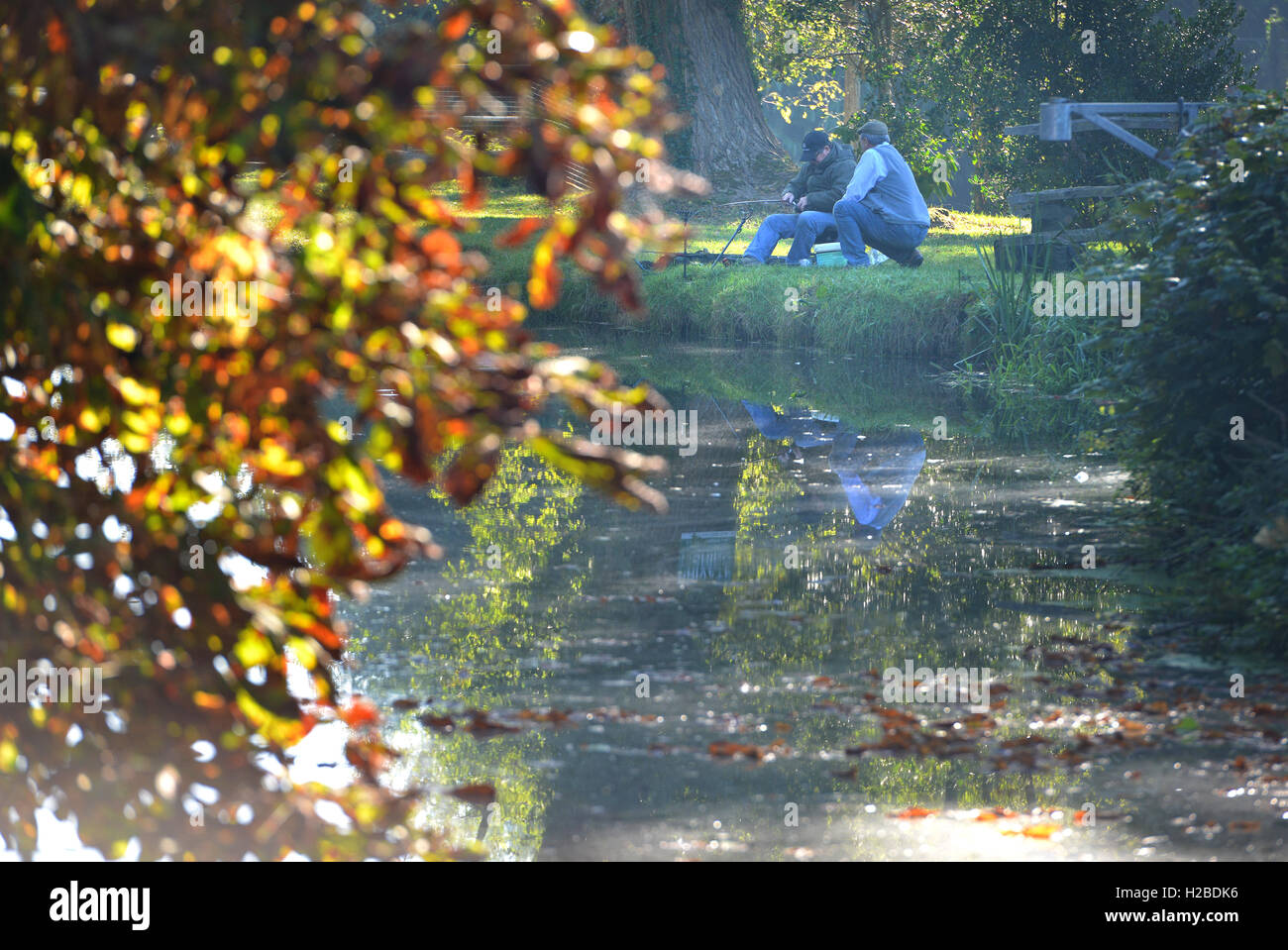 Fishing in late summer, Barcombe Mills, East Sussex Stock Photo