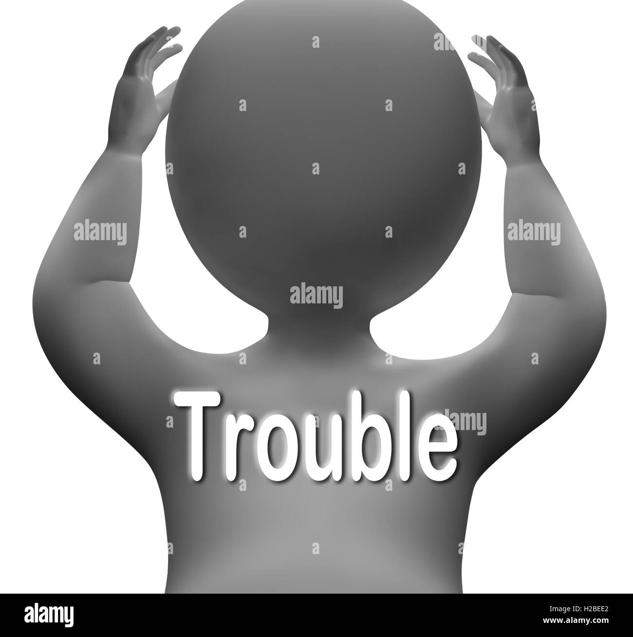 Trouble Character Means Problems Difficulty And Worries - Stock Image