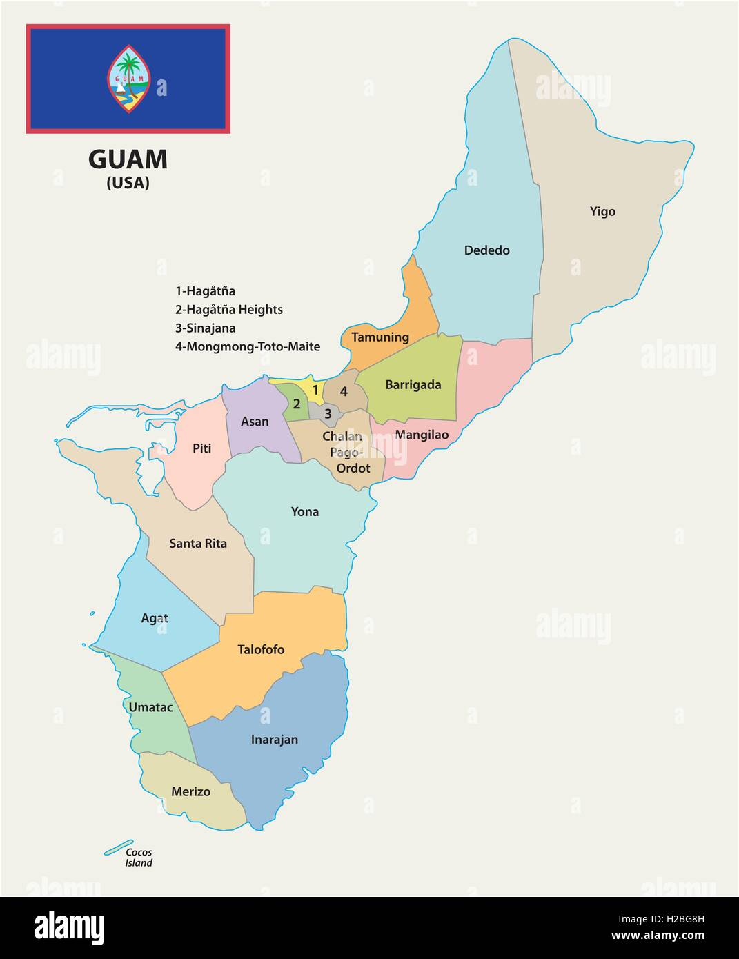 Guam map stock photos guam map stock images alamy guam administrative map with flag stock image gumiabroncs Gallery