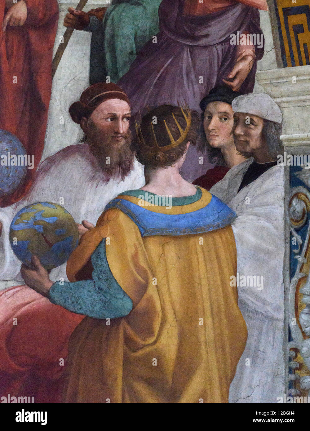 Raphael (1483-1520), Detail of the School of Athens fresco showing Self Portrait of the artist (second from the Stock Photo