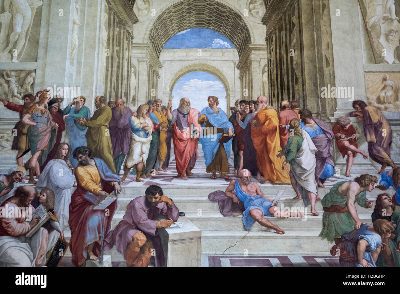 Raphael (1483-1520), The School of Athens fresco (1509–1511). Stanza della Segnatura, Vatican Museums, Rome. Stock Photo