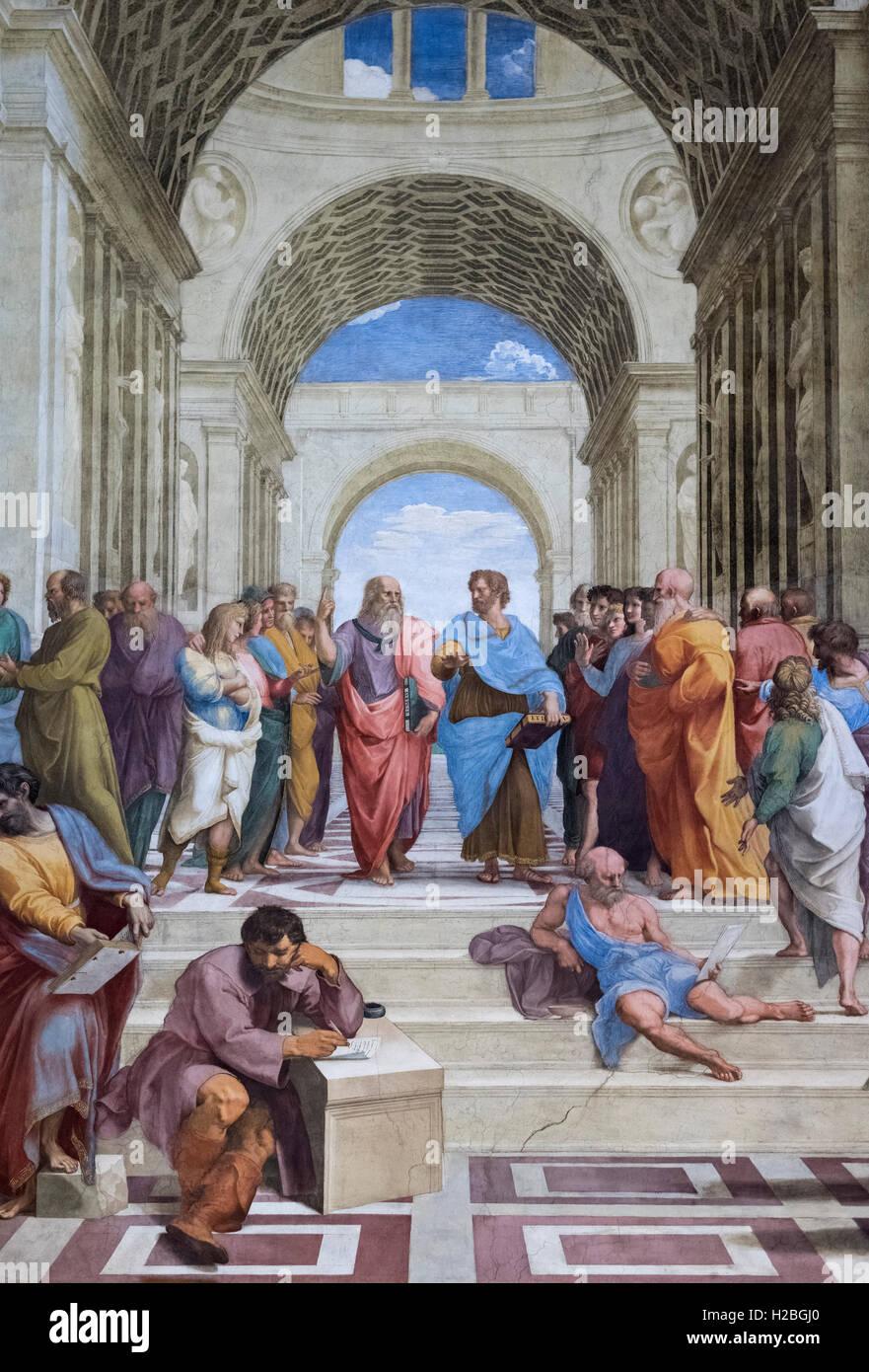 Raphael (1483-1520), The School of Athens fresco (1509–1511). Stanza della Segnatura, Vatican Museums, Rome. Stock Photo