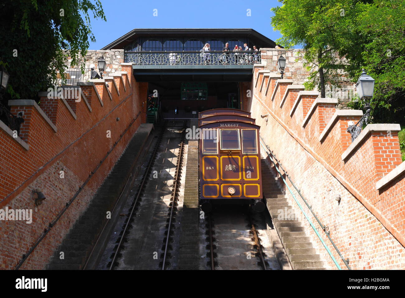 The Siklo funicular in Budapest that runs from the top of Castle Hill to the Lanchid Stock Photo