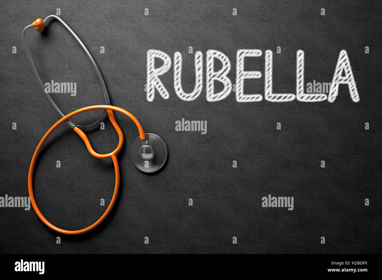 Chalkboard with Rubella Concept. 3D Illustration. - Stock Image