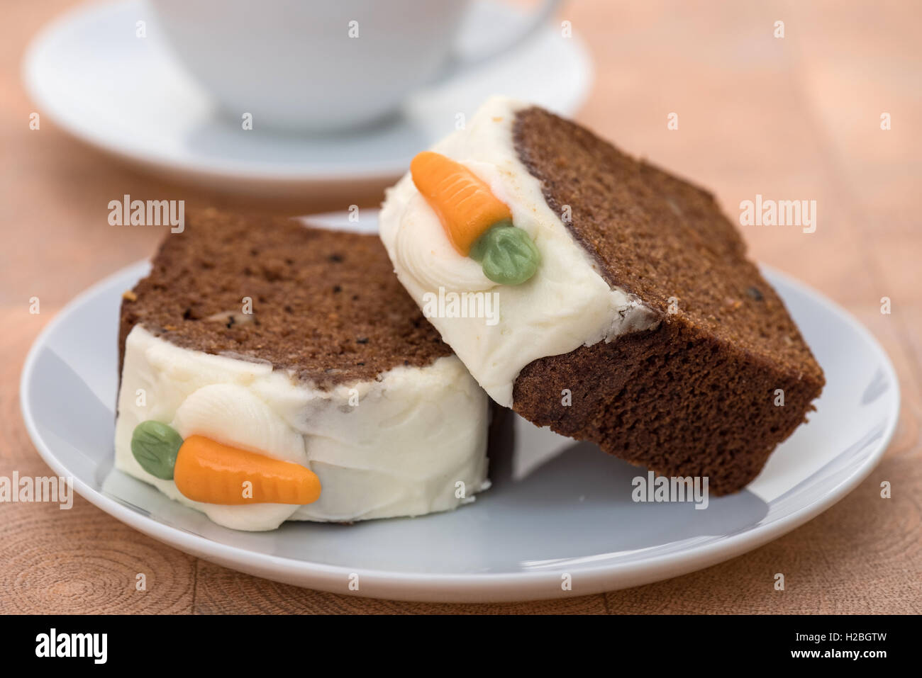 Slices of fresh carrot cake - shallow depth of field - Stock Image