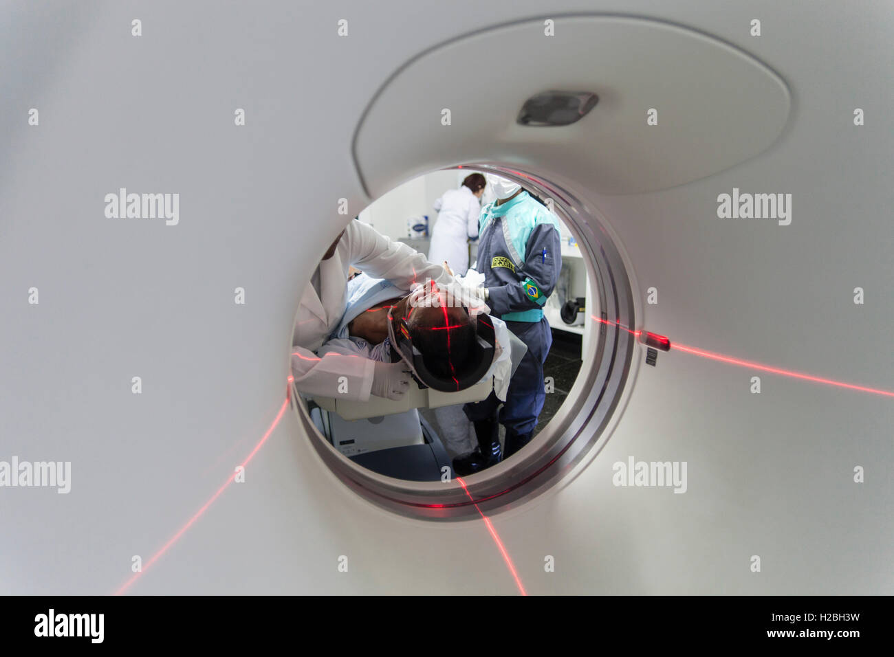 Patient in medical MRI scanner, magnetic resonance imaging, a medical imaging technique used in radiology to image - Stock Image