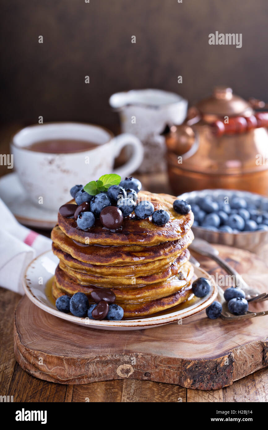 Pumpkin pancakes with blueberries Stock Photo