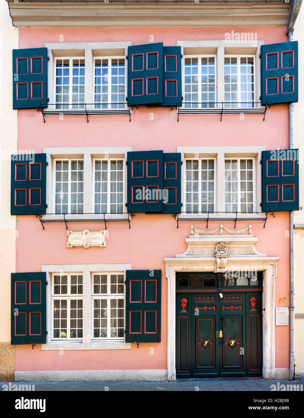 The Beethoven House (Beethoven-Haus), the birthplace of Ludwig van Beethoven on Bonngasse, Bonn, Germany - Stock Image