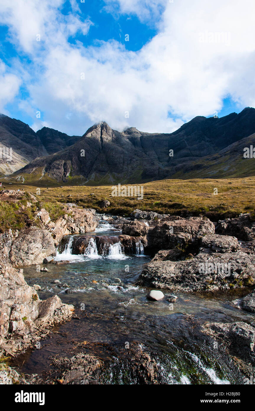 Black Cuillin and the Fairy Pools - Stock Image
