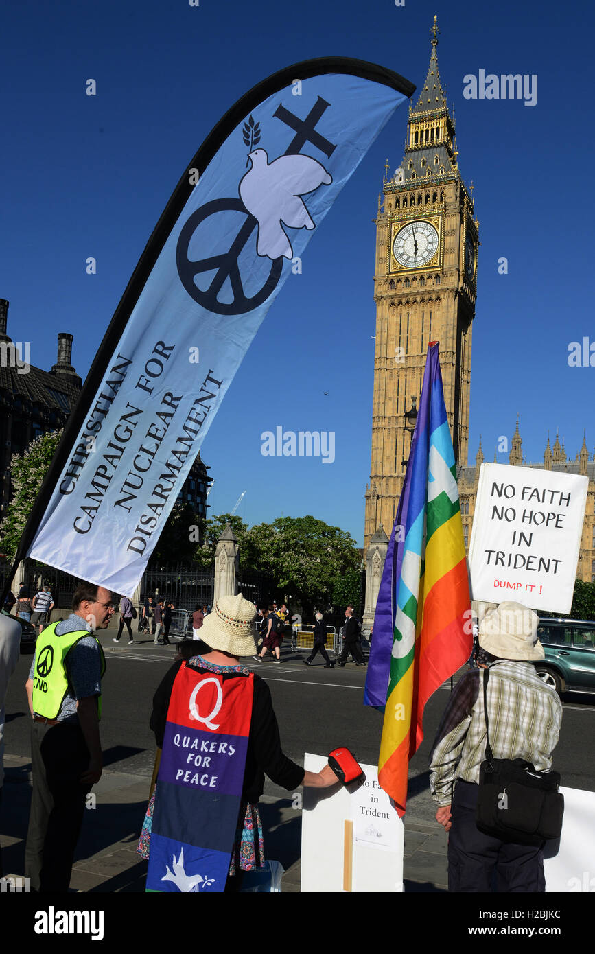 The Campaign for Nuclear Disarmament held an anti Trident protest in Parliament Square as MPs debated on a replacement - Stock Image