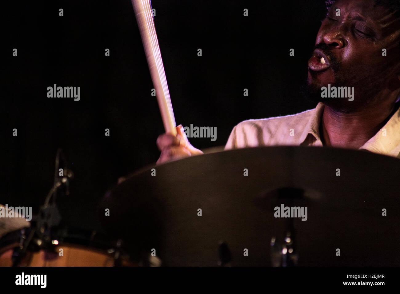 Sonny Troupé performs live during Lisa Simone' s concert. - Stock Image
